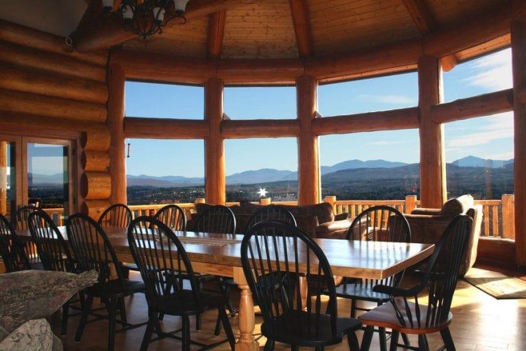 Cozy log cabin interior mountain view