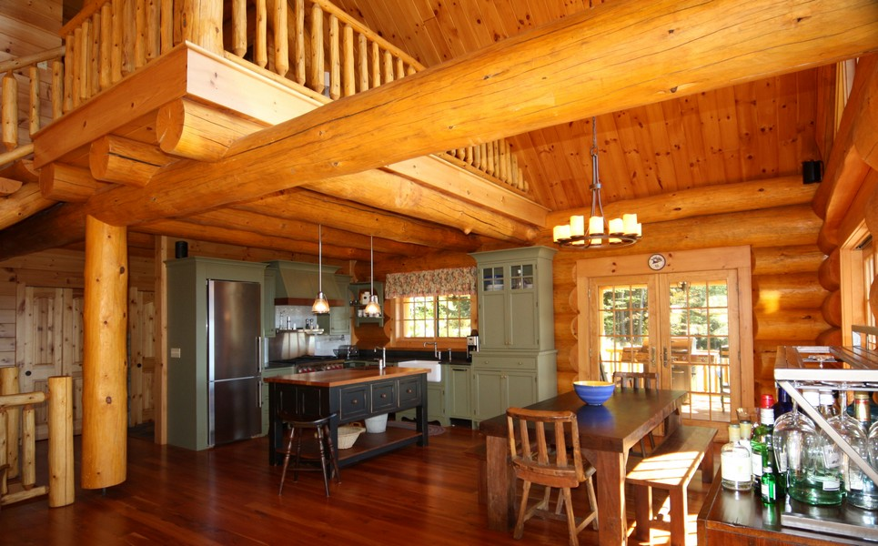 Cozy log cabin interior kitchen