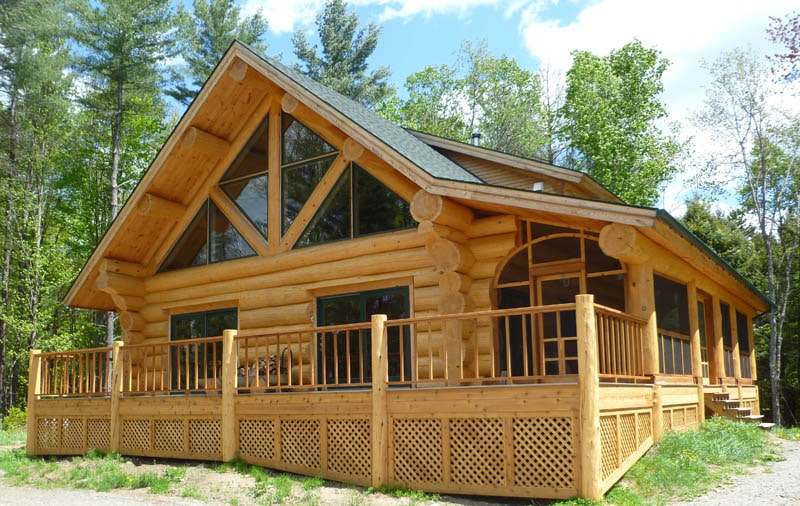 Custom rustic log cabin home built in vermont
