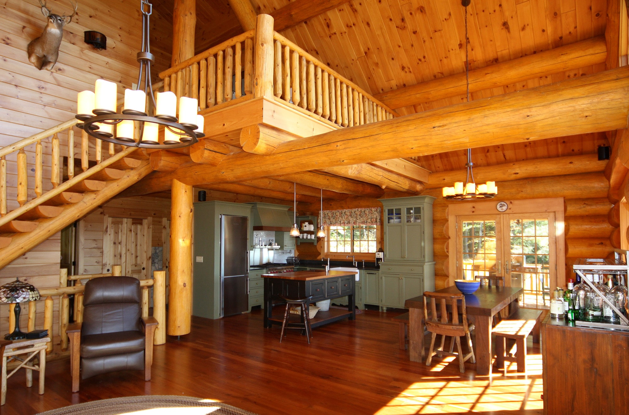 Cozy Log cabin interior kitchen and living room