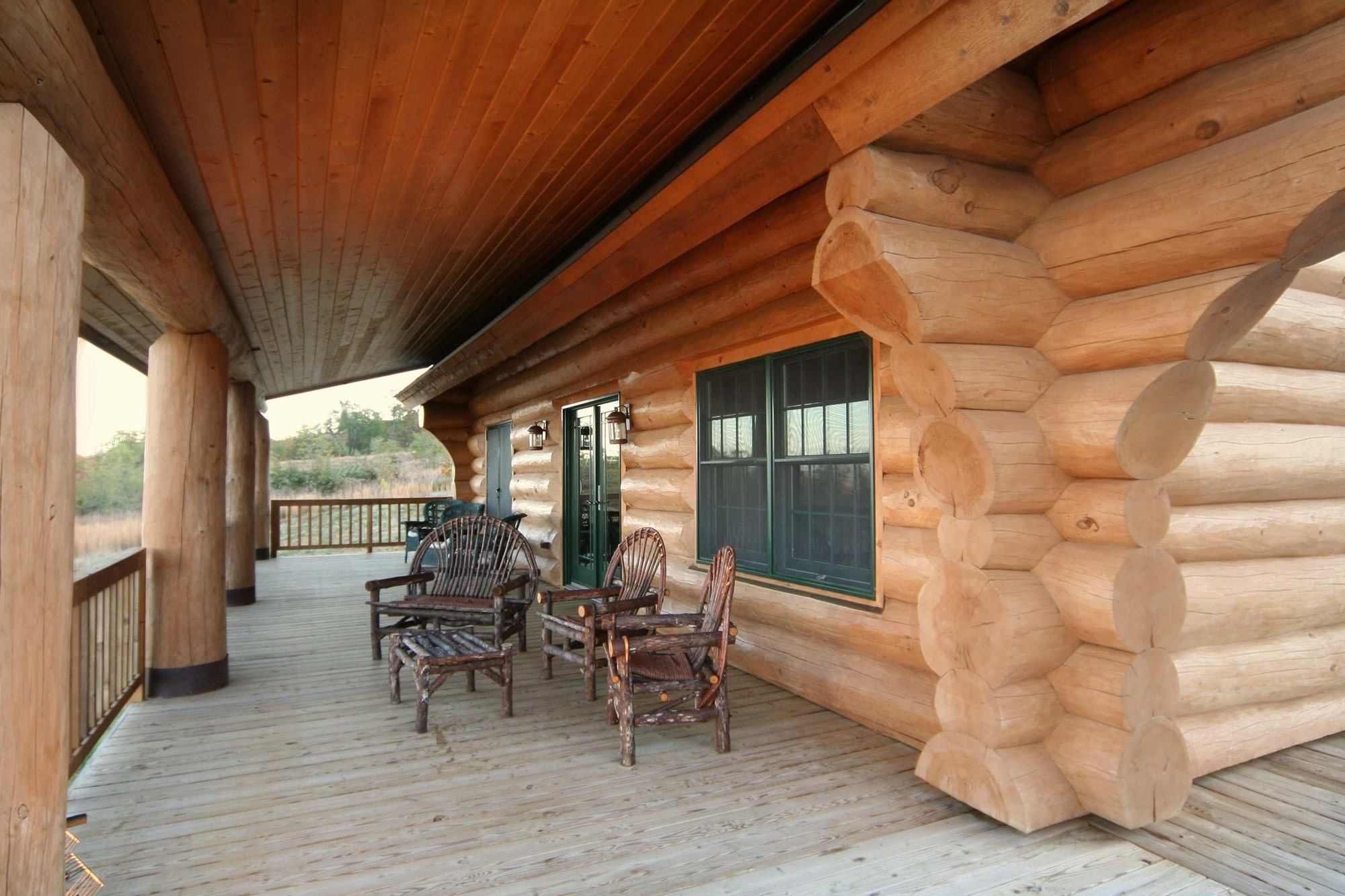 Log cabin porch with amazing view