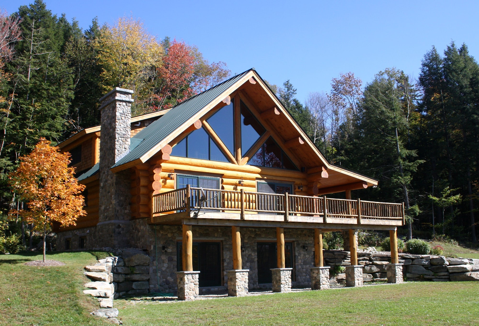 Custom log cabin dream home in vermont