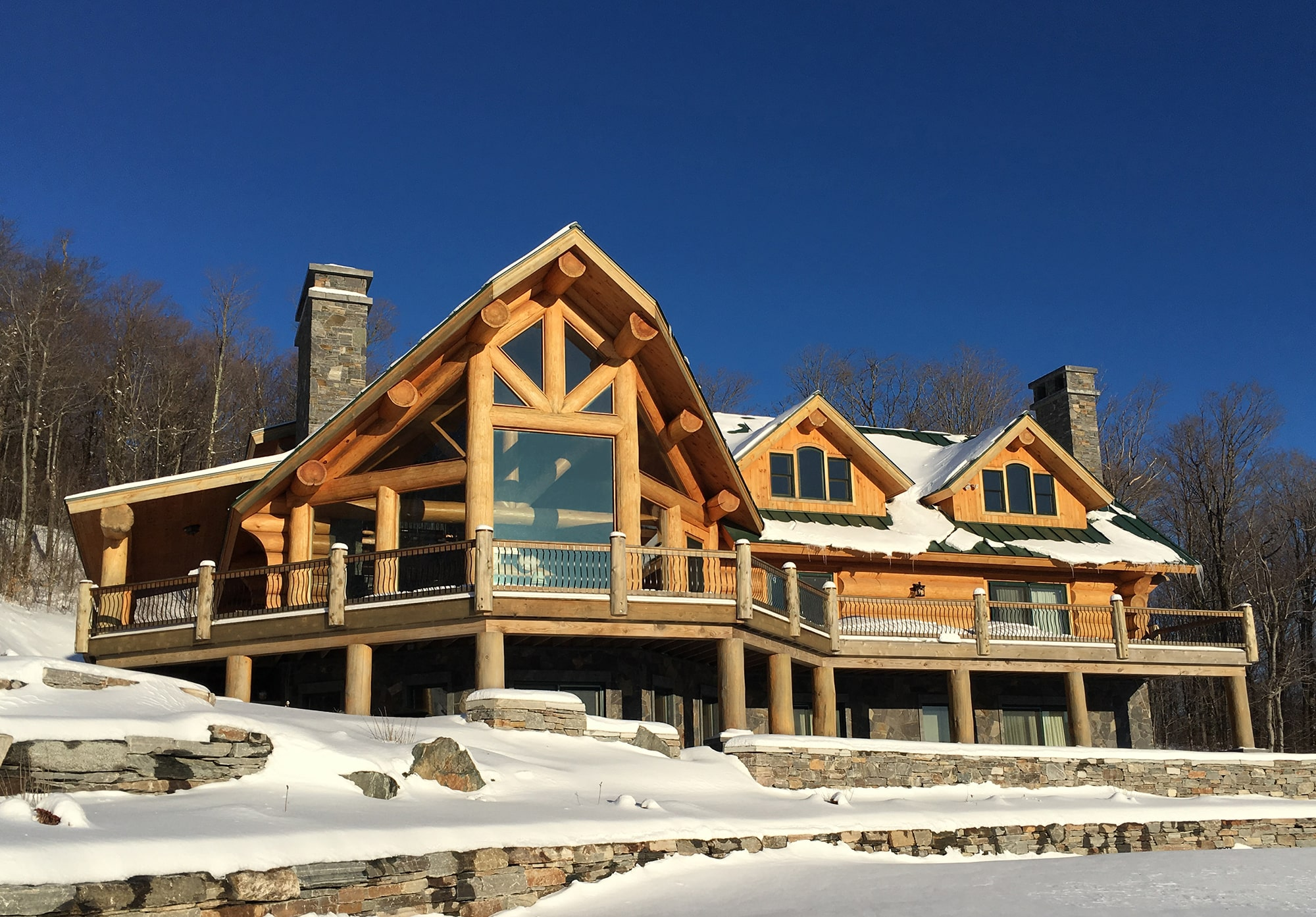 Luxury custom log cabin dream home in Vermont