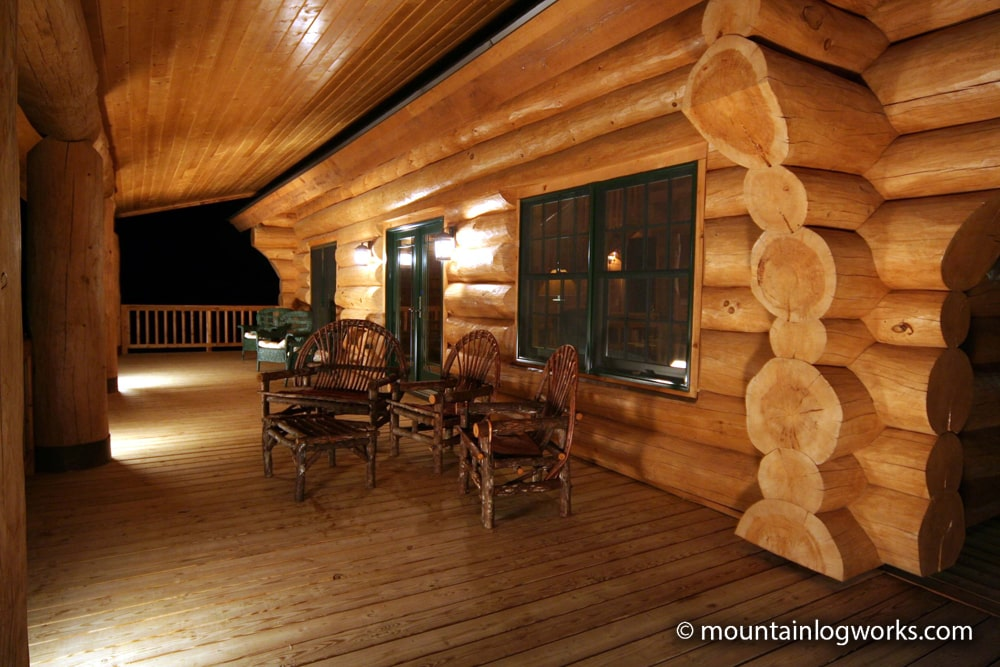 Night at the log cabin porch