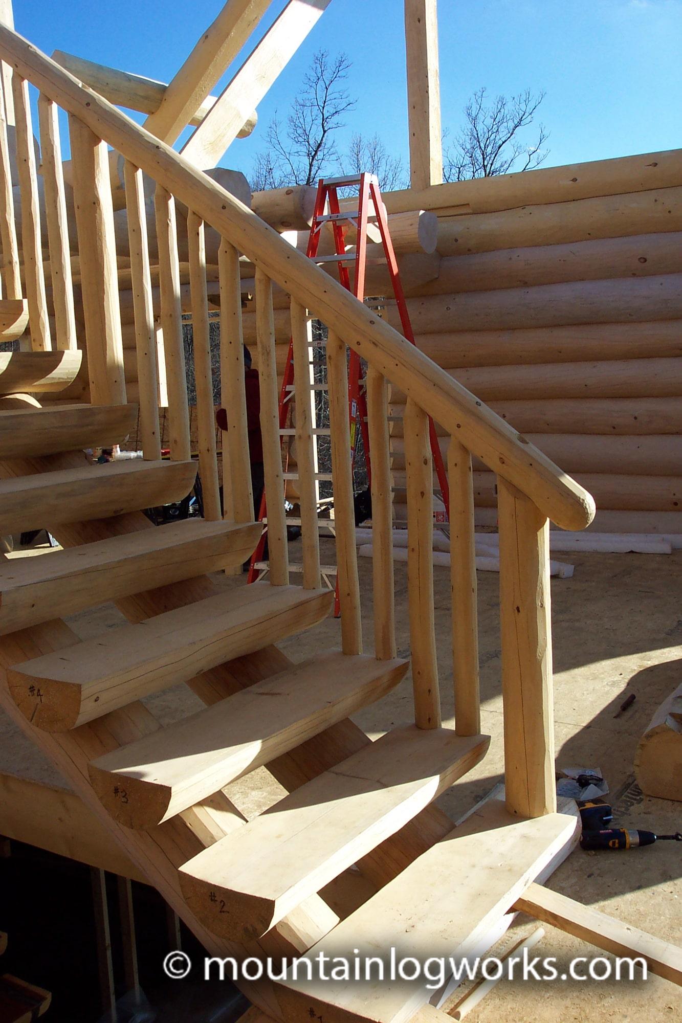 Stairway in log cabin