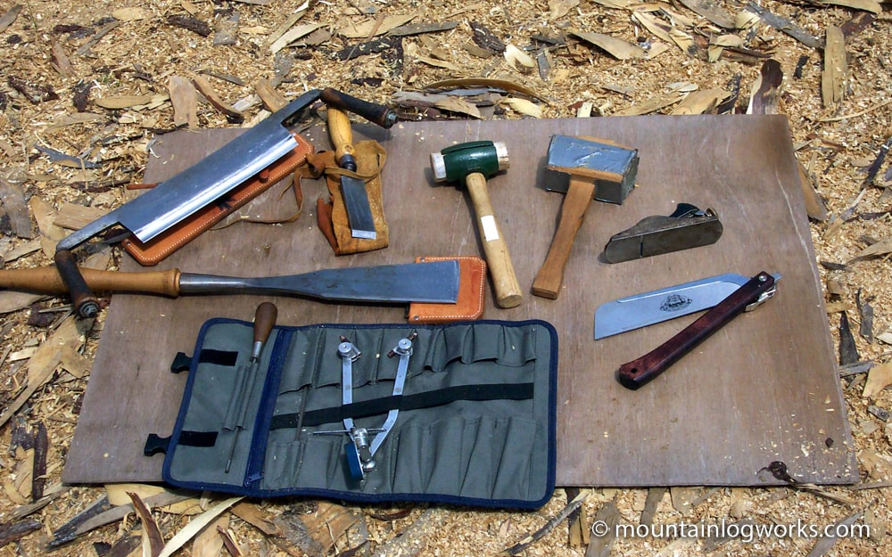 Hand tools used for building log cabin