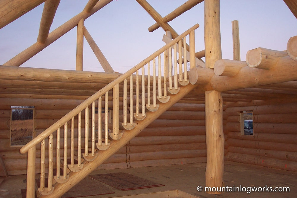 building stairs for custom log home