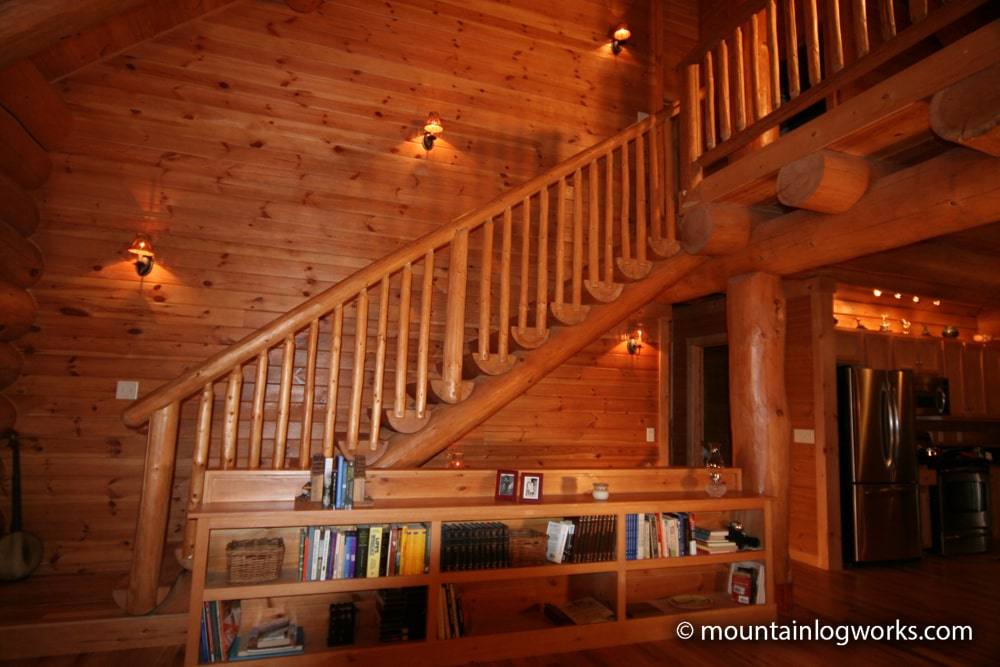 stairs leading to log cabin loft