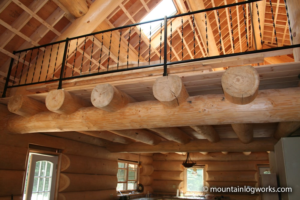 Log cabin home loft floor joists