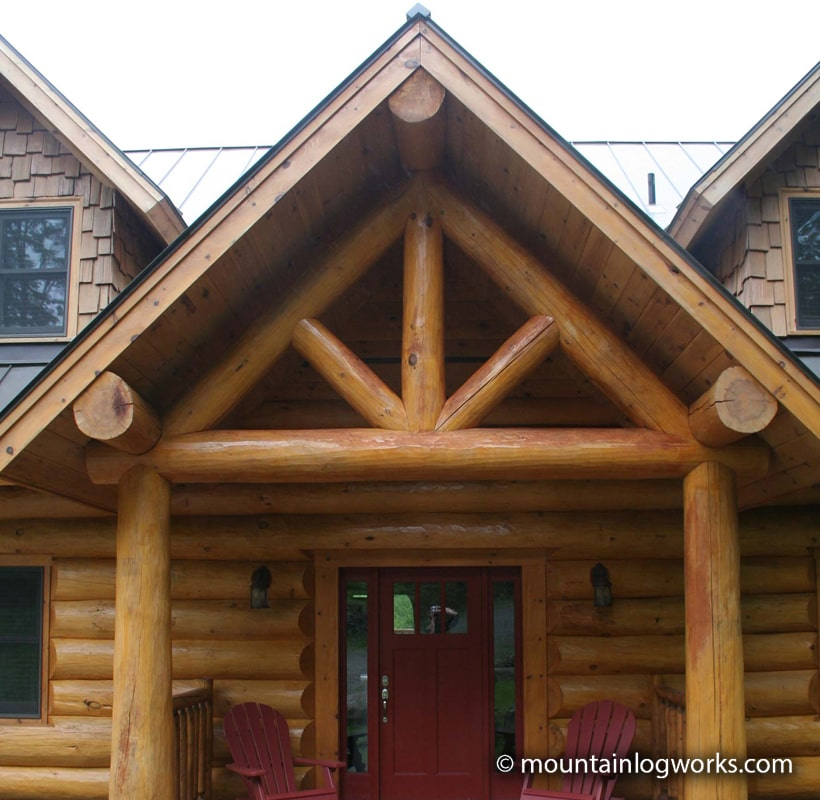 King post entry porch log cabin