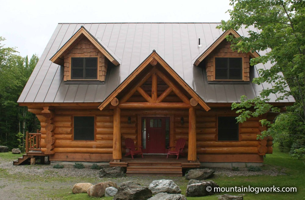 Log home front door entry porch