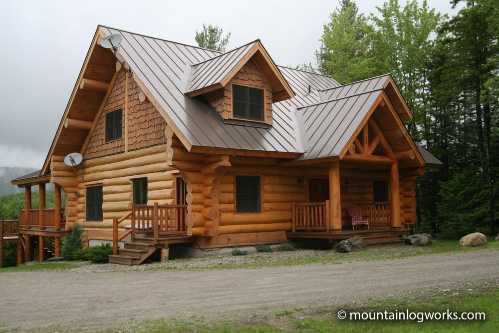 Unique Log cabin home exterior in Vermont