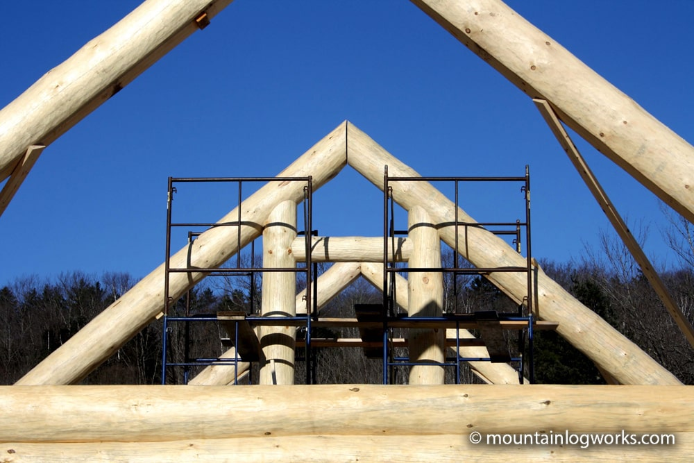 Log timber frame roof system