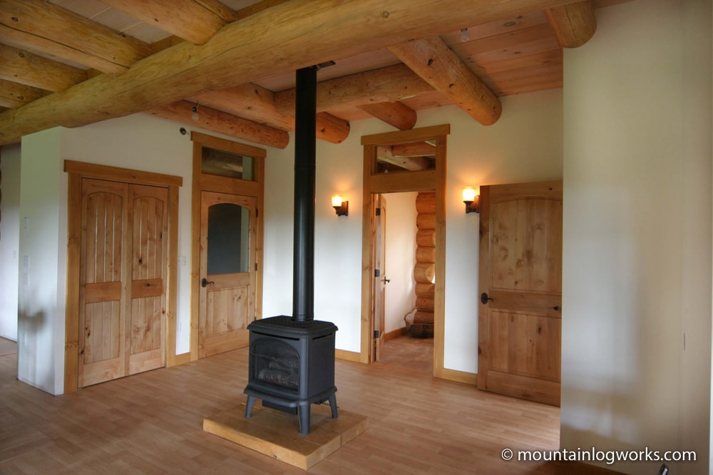 log home living room interior
