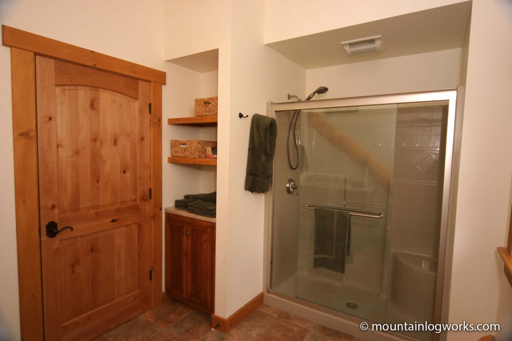 Log home bathroom