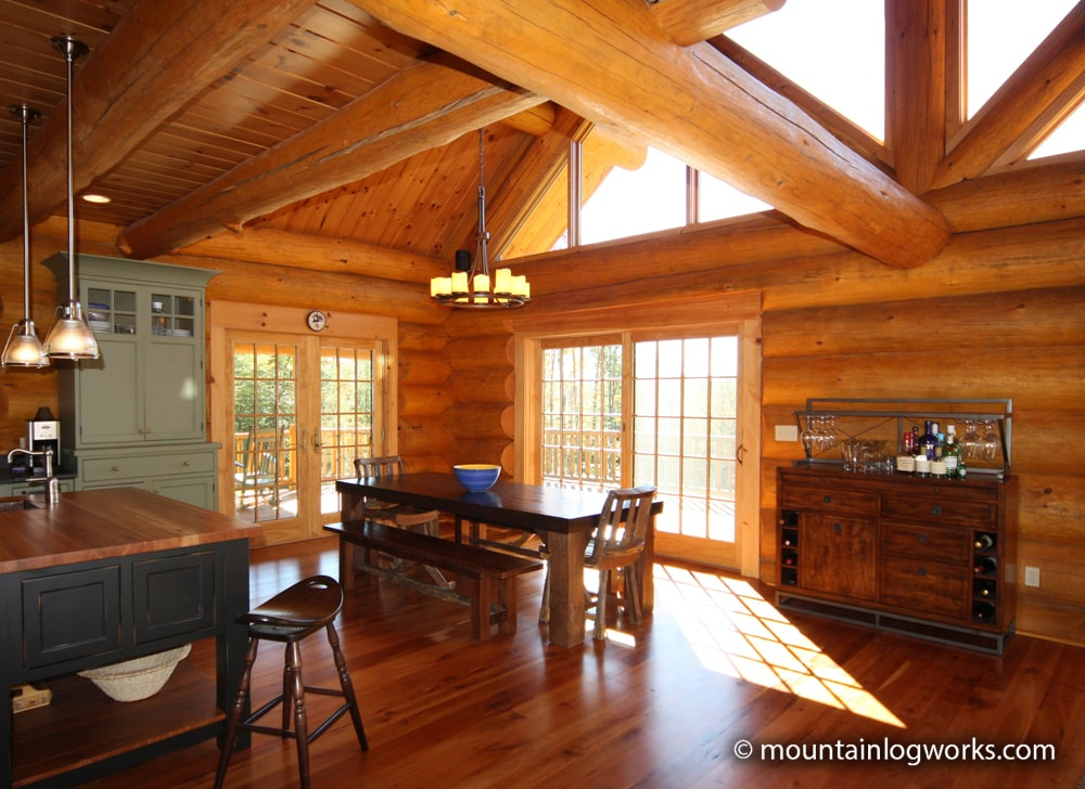 Dining area in log vacation home