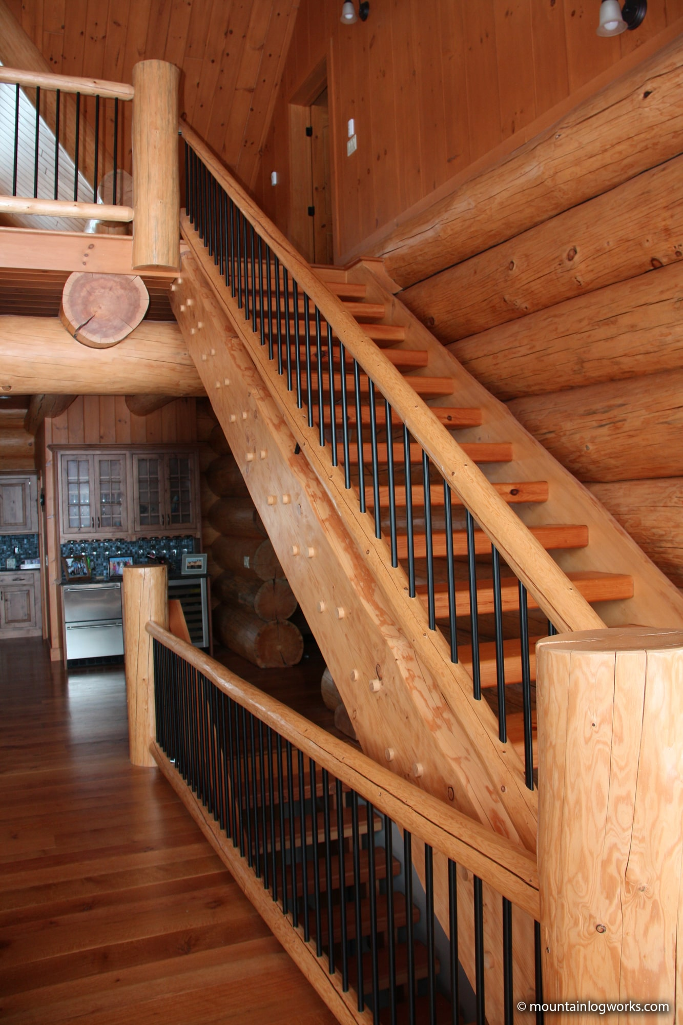 Stairs to log cabin loft