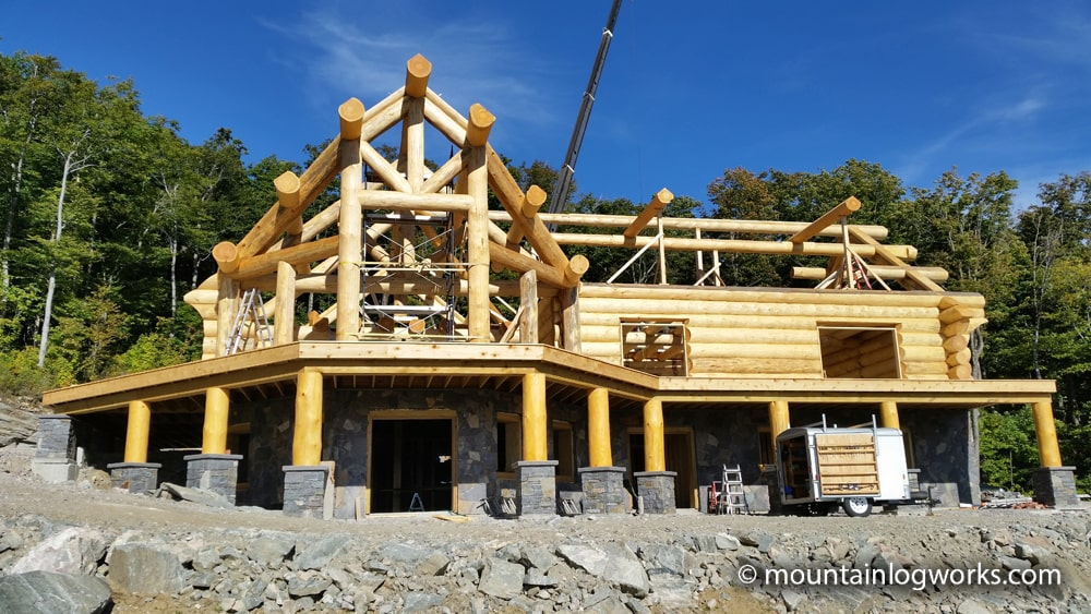Luxury log cabin builders constructing dream home