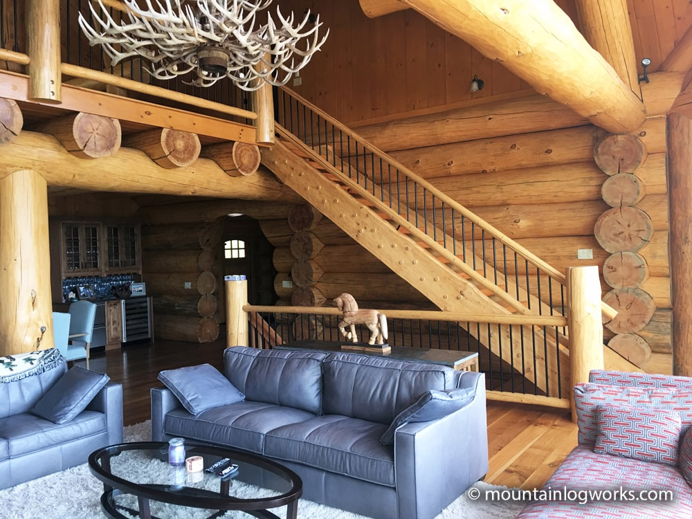 Cozy log cabin lodge living room