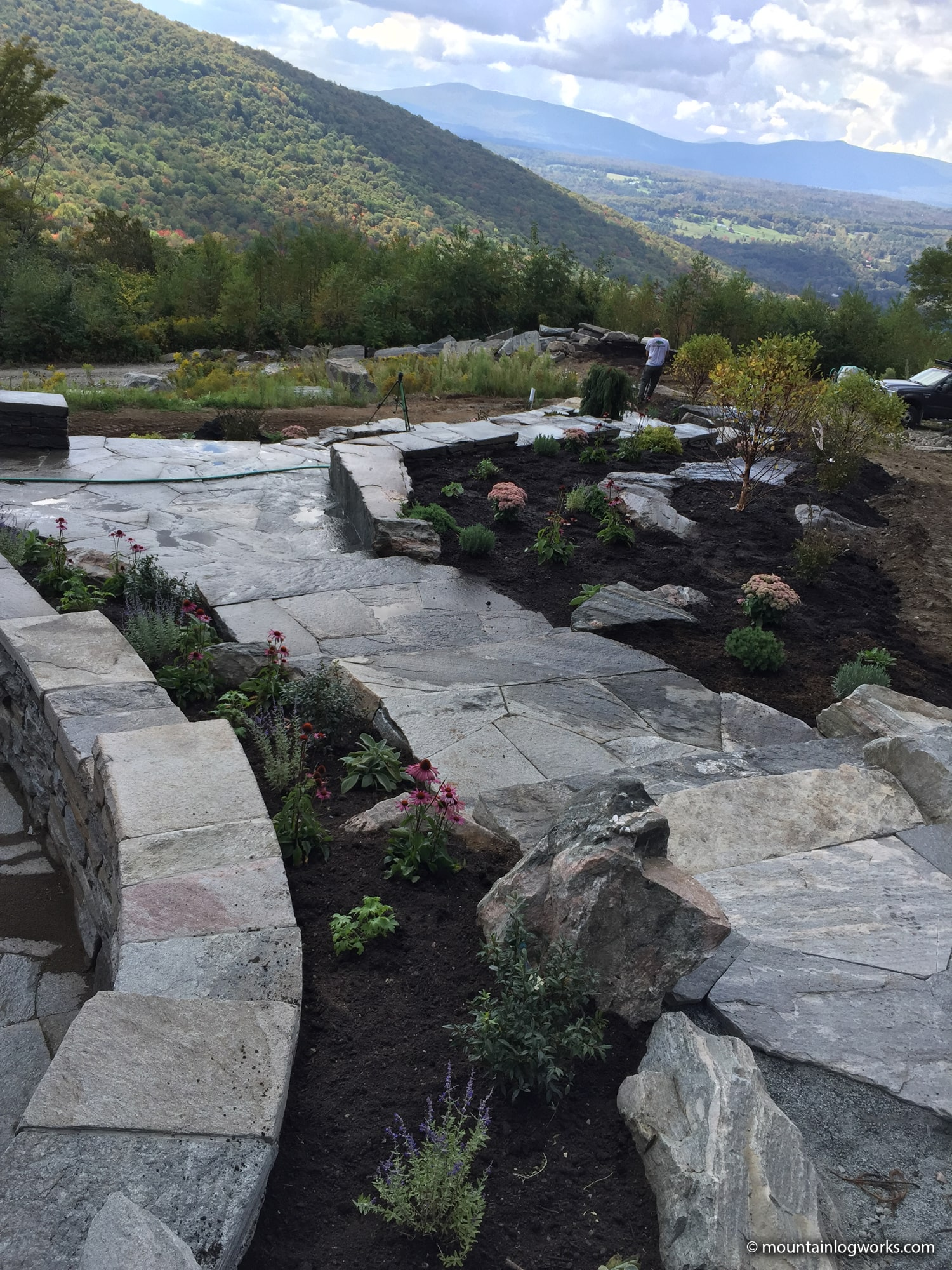 Stone pathway with vermont mountain view