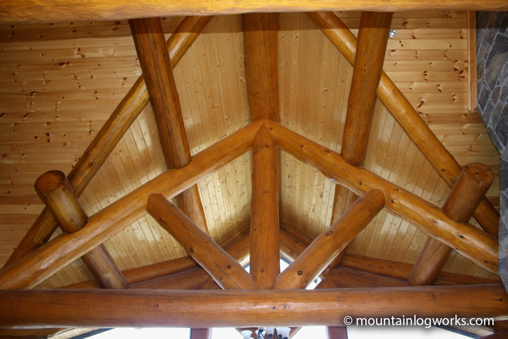 Interior log joinery king post truss
