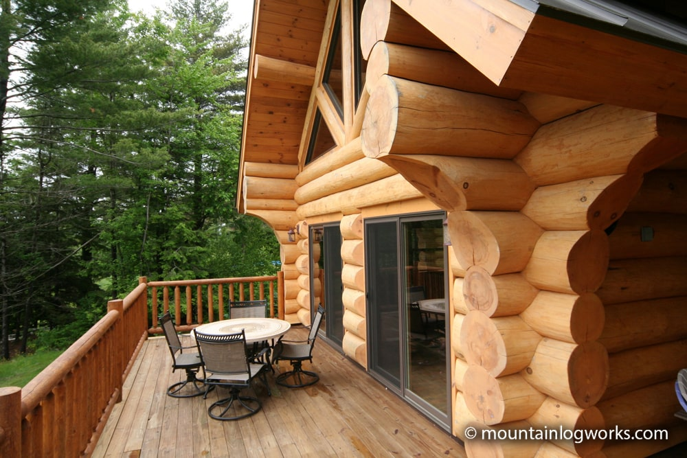 cozy deck outside log cabin in vermont