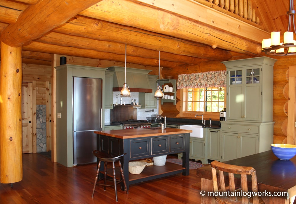 Bright kitchen in cozy log cabin