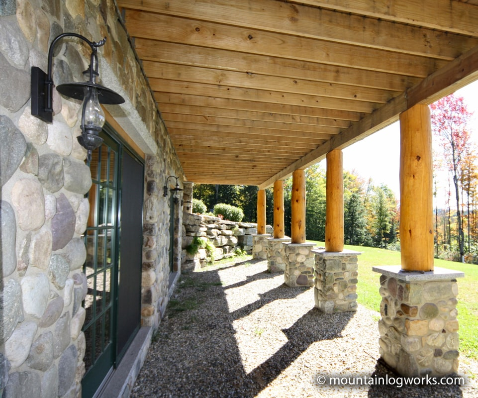 Stone work and log dock posts