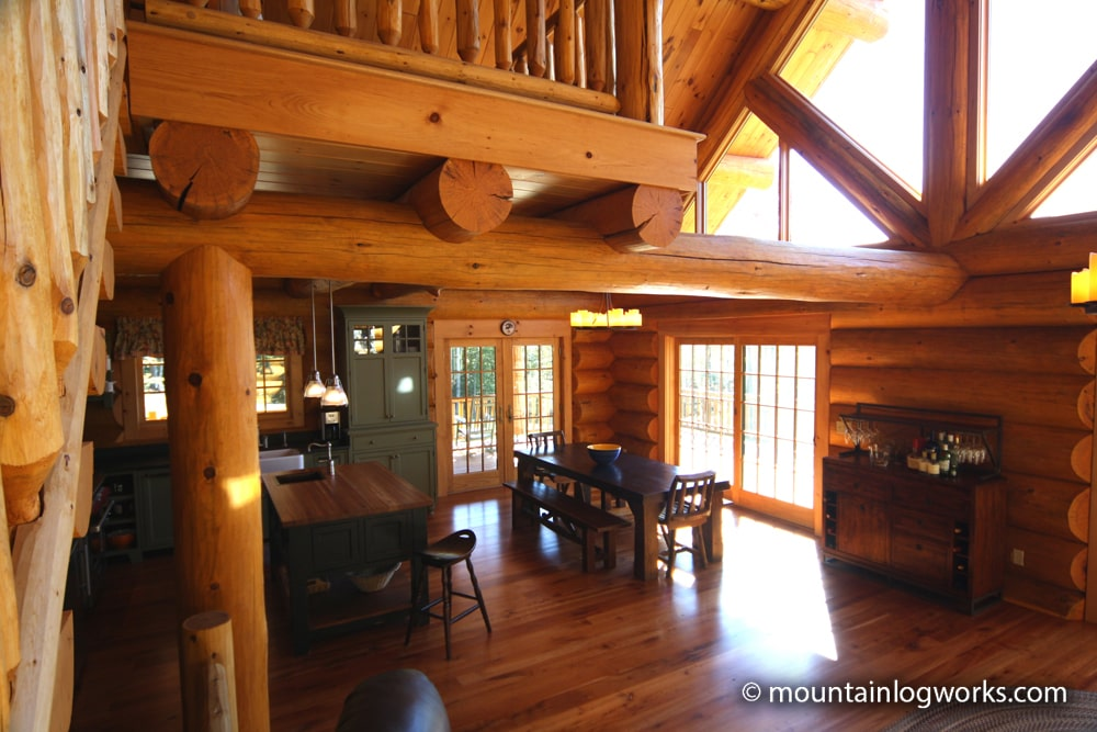 Log great room in mountain retreat