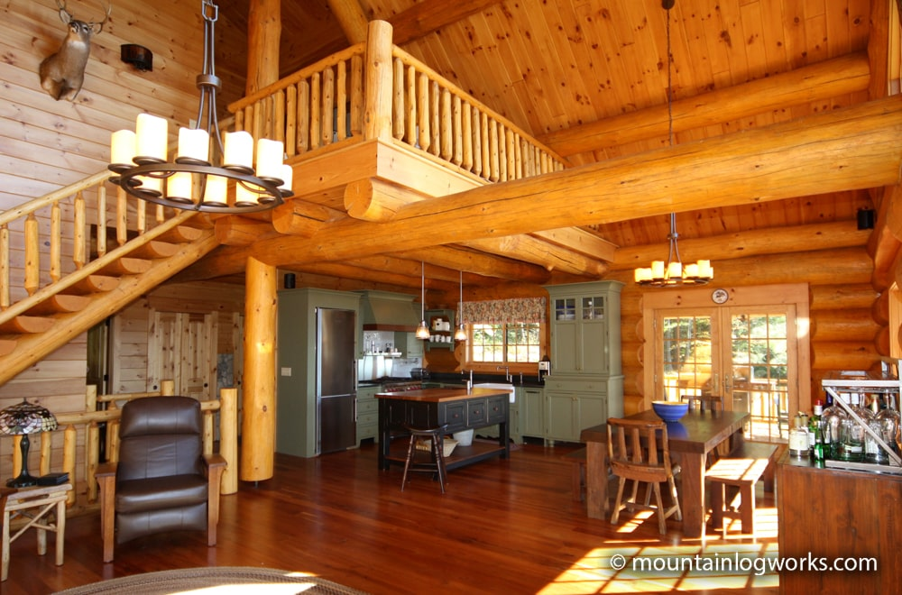 cozy cabin loft overlooking dining room