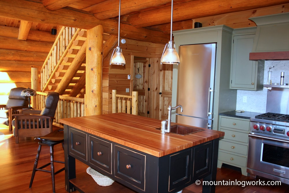 kitchen in unique log cabin home