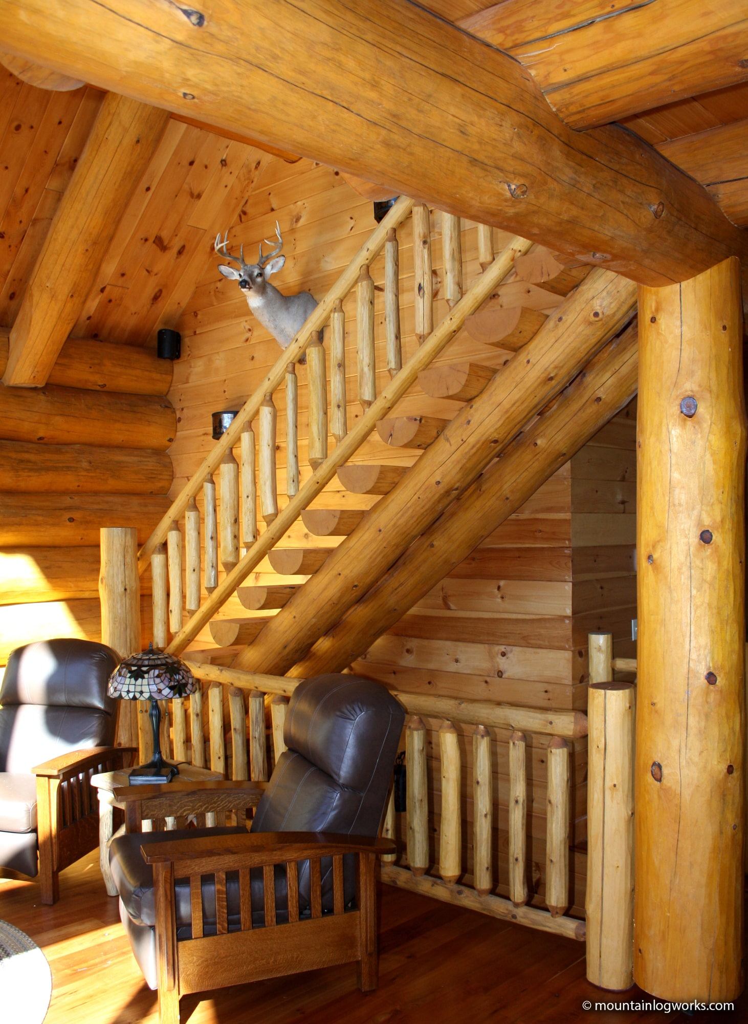 log stairs to cabin loft