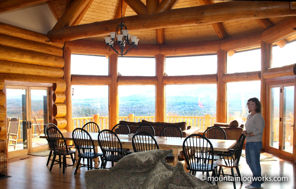 Log cabin sunroom luxury dream log home