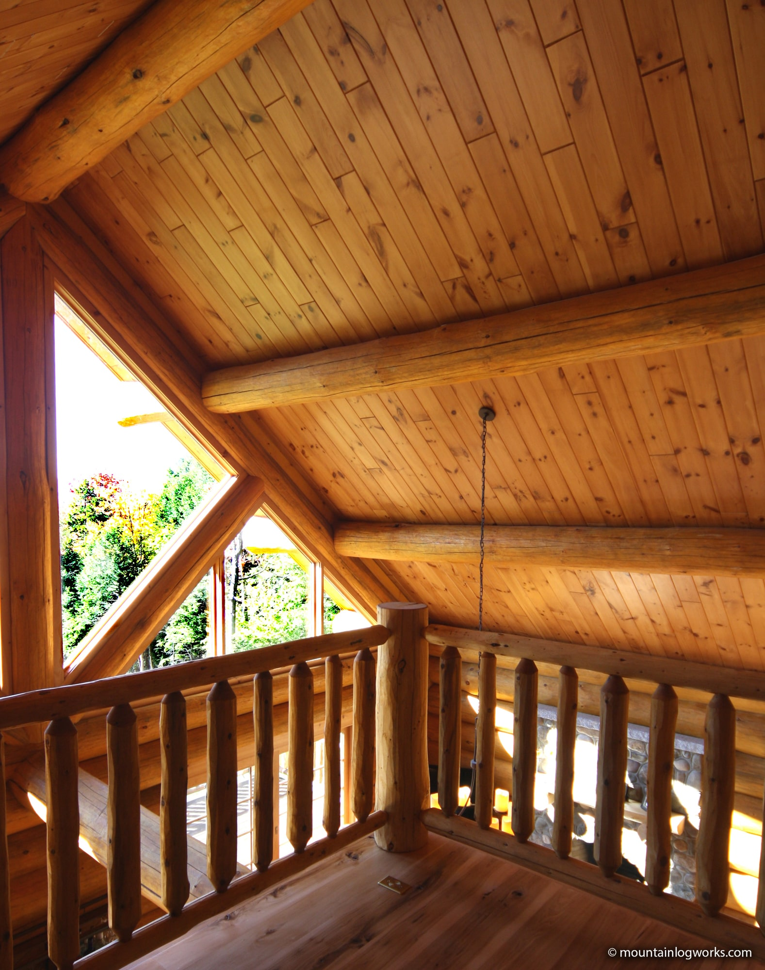 Cathedral ceiling in log cabin loft