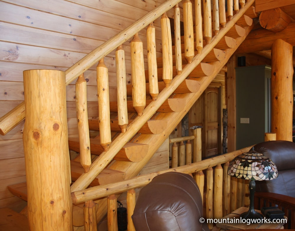 log stairs and railings in vermont log home