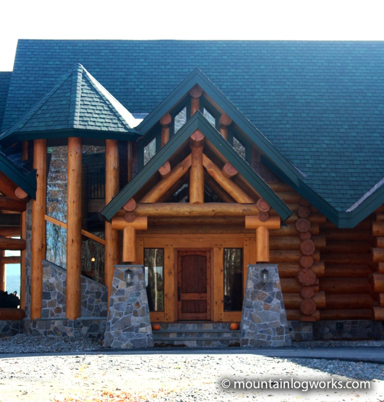 Log home stone entry
