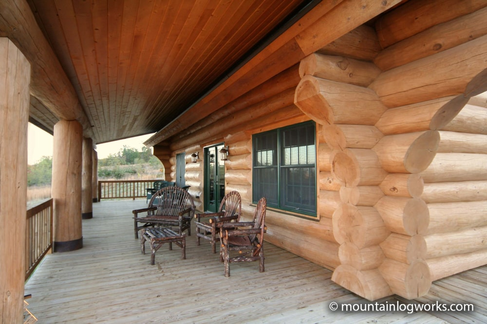 Cozy log cabin porch