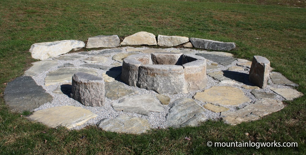 Stone fire pit in vermont