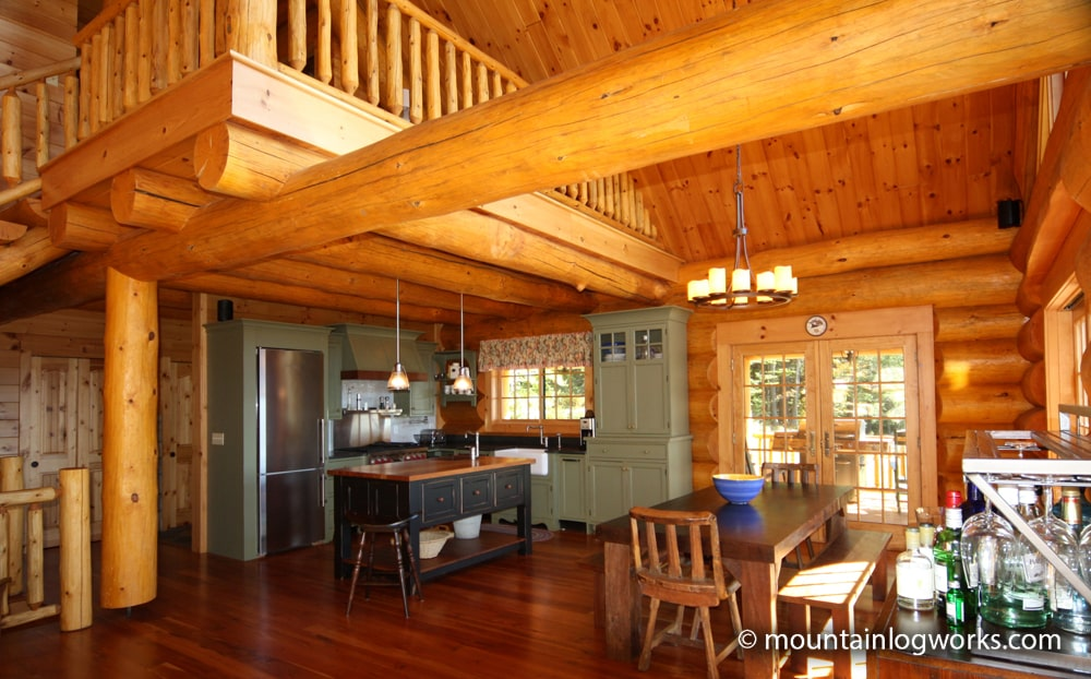 Log cabin kitchen and loft in Vermont