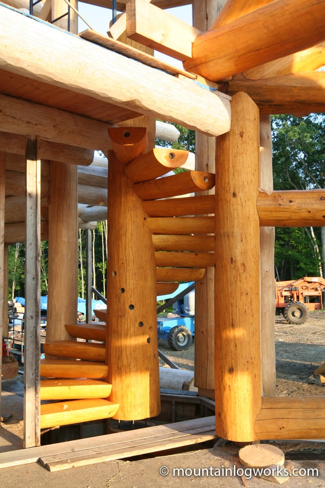 spiral log staircase in the sun