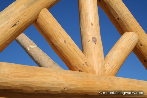 Custom Log cabin timber frame king truss roof support
