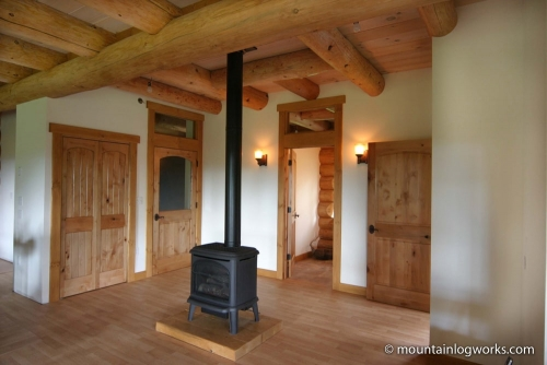 Custom log home hybrid interior